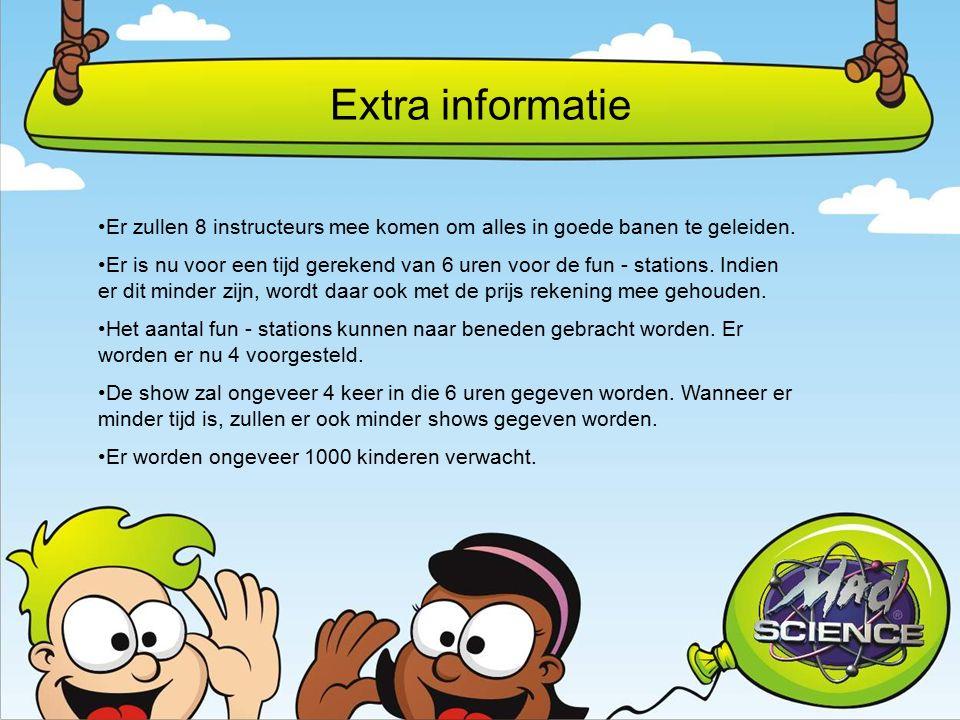 Extra informatie Er zullen 8 instructeurs mee komen om alles in goede banen te geleiden.