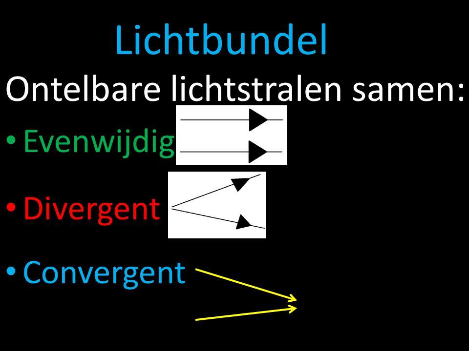 Lichtbundel Ontelbare lichtstralen samen: Evenwijdig Divergent Convergent