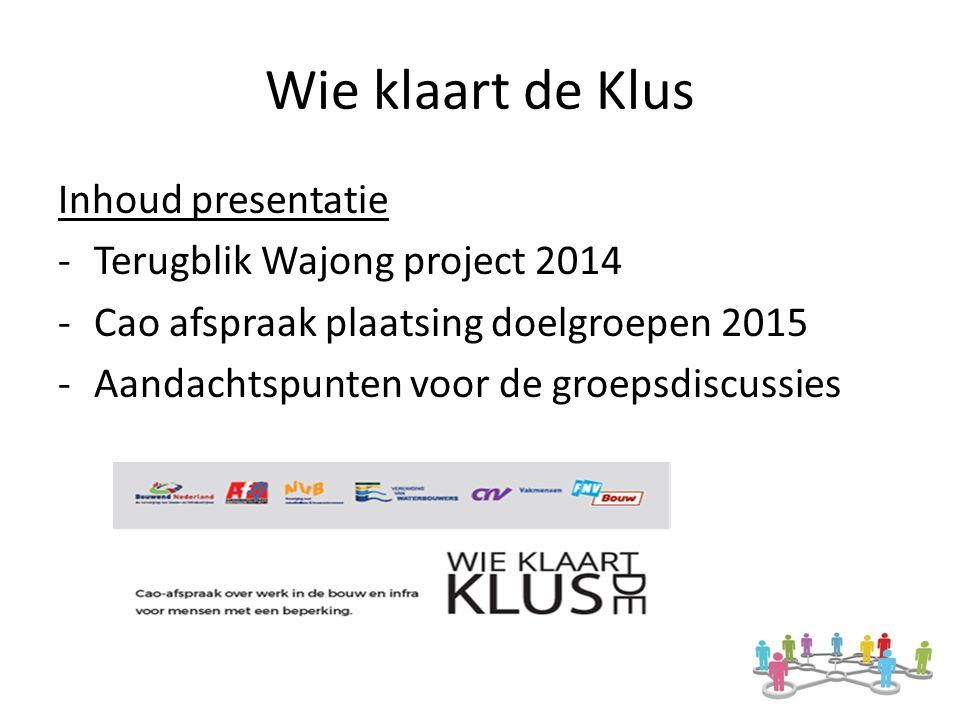 Wie klaart de Klus Inhoud presentatie -Terugblik Wajong project 2014 -Cao afspraak plaatsing doelgroepen 2015 -Aandachtspunten voor de groepsdiscussies