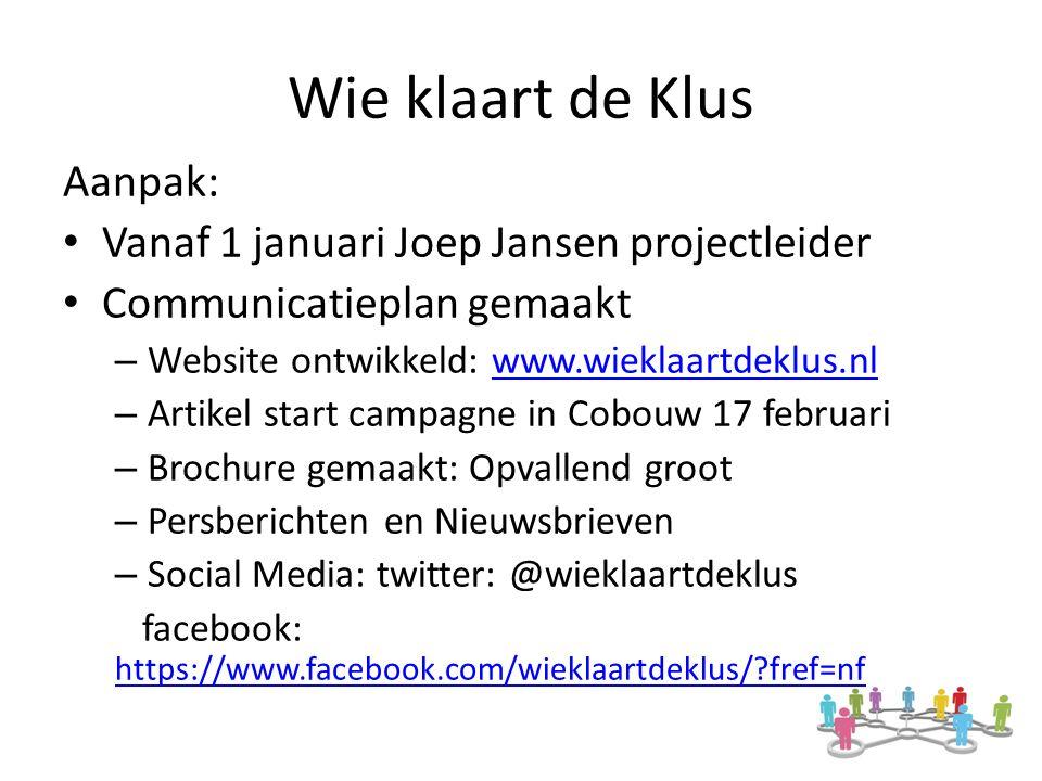 Wie klaart de Klus Aanpak: Vanaf 1 januari Joep Jansen projectleider Communicatieplan gemaakt – Website ontwikkeld: www.wieklaartdeklus.nlwww.wieklaartdeklus.nl – Artikel start campagne in Cobouw 17 februari – Brochure gemaakt: Opvallend groot – Persberichten en Nieuwsbrieven – Social Media: twitter: @wieklaartdeklus facebook: https://www.facebook.com/wieklaartdeklus/ fref=nf https://www.facebook.com/wieklaartdeklus/ fref=nf