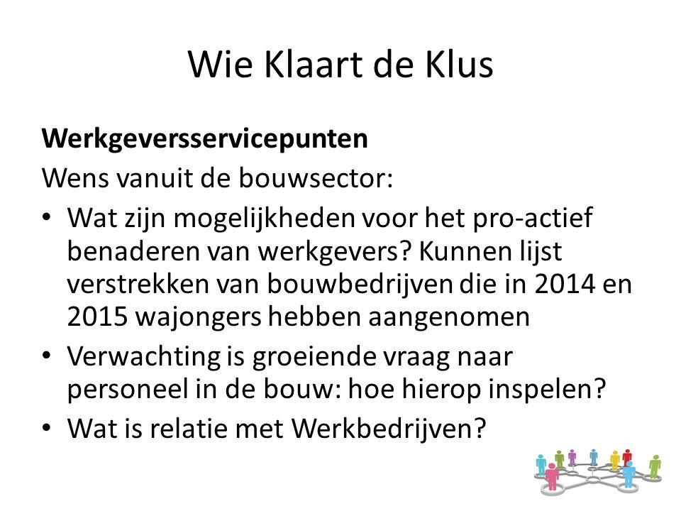 Wie Klaart de Klus Werkgeversservicepunten Wens vanuit de bouwsector: Wat zijn mogelijkheden voor het pro-actief benaderen van werkgevers.