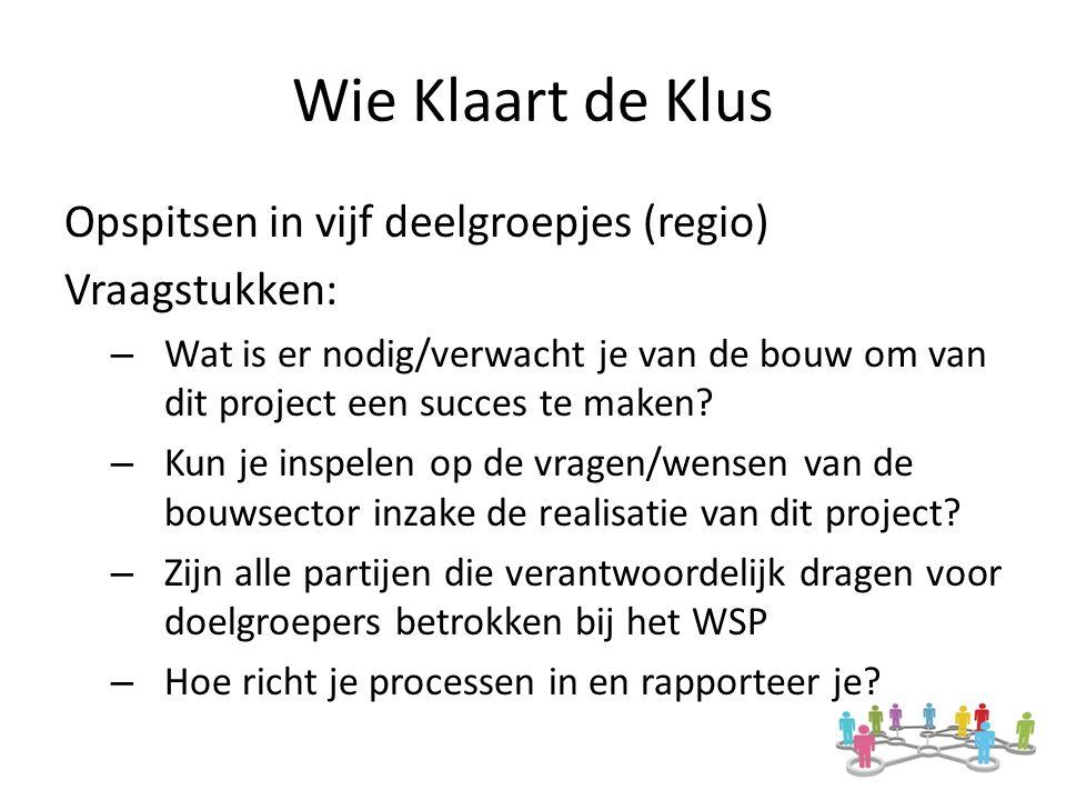 Wie Klaart de Klus Opspitsen in vijf deelgroepjes (regio) Vraagstukken: – Wat is er nodig/verwacht je van de bouw om van dit project een succes te maken.
