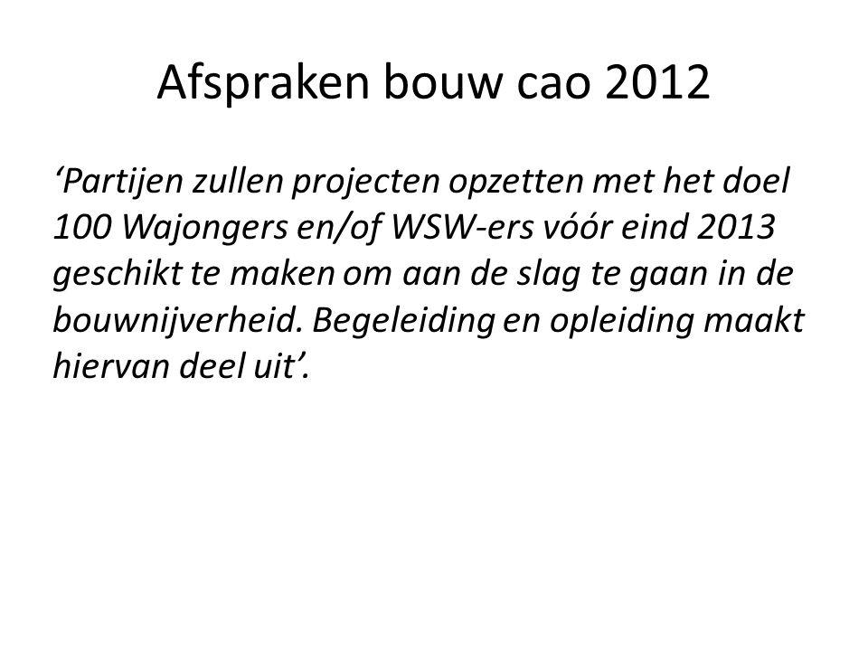 Afspraken bouw cao 2012 'Partijen zullen projecten opzetten met het doel 100 Wajongers en/of WSW-ers vóór eind 2013 geschikt te maken om aan de slag te gaan in de bouwnijverheid.