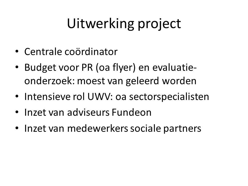 Uitwerking project Centrale coördinator Budget voor PR (oa flyer) en evaluatie- onderzoek: moest van geleerd worden Intensieve rol UWV: oa sectorspecialisten Inzet van adviseurs Fundeon Inzet van medewerkers sociale partners