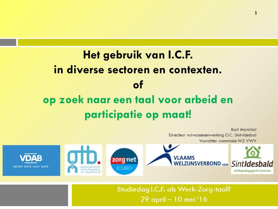 Studiedag I.C.F.als Werk-Zorg-taal. 29 april – 10 mei '16 Het gebruik van I.C.F.