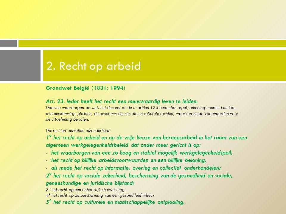 Grondwet België (1831; 1994) Art.23. Ieder heeft het recht een menswaardig leven te leiden.