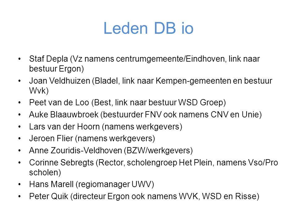 Leden DB io Staf Depla (Vz namens centrumgemeente/Eindhoven, link naar bestuur Ergon) Joan Veldhuizen (Bladel, link naar Kempen-gemeenten en bestuur Wvk) Peet van de Loo (Best, link naar bestuur WSD Groep) Auke Blaauwbroek (bestuurder FNV ook namens CNV en Unie) Lars van der Hoorn (namens werkgevers) Jeroen Flier (namens werkgevers) Anne Zouridis-Veldhoven (BZW/werkgevers) Corinne Sebregts (Rector, scholengroep Het Plein, namens Vso/Pro scholen) Hans Marell (regiomanager UWV) Peter Quik (directeur Ergon ook namens WVK, WSD en Risse)