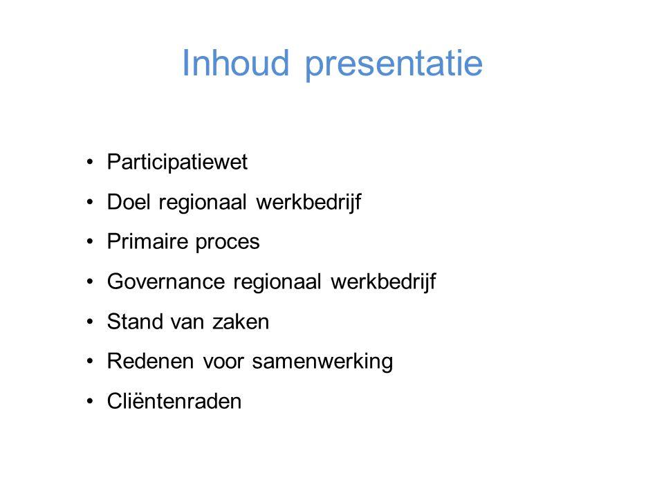 Inhoud presentatie Participatiewet Doel regionaal werkbedrijf Primaire proces Governance regionaal werkbedrijf Stand van zaken Redenen voor samenwerking Cliëntenraden