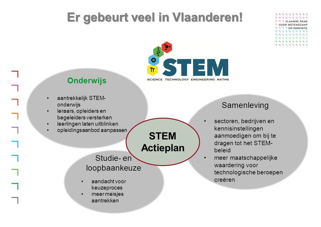 Samenleving sectoren, bedrijven en kennisinstellingen aanmoedigen om bij te dragen tot het STEM- beleid meer maatschappelijke waardering voor technologische beroepen creëren Onderwijs aantrekkelijk STEM- onderwijs leraars, opleiders en begeleiders versterken leerlingen laten uitblinken opleidingsaanbod aanpassen Studie- en loopbaankeuze aandacht voor keuzeproces meer meisjes aantrekken STEM Actieplan