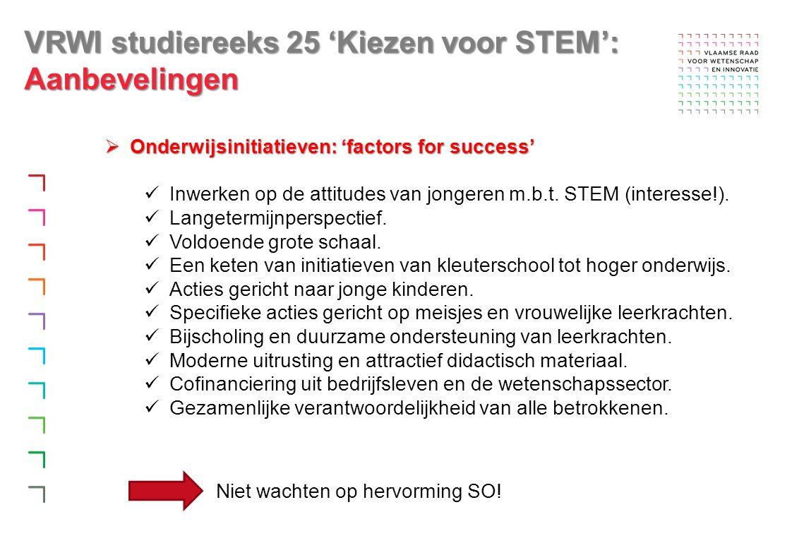 VRWI studiereeks 25 'Kiezen voor STEM': Aanbevelingen  Onderwijsinitiatieven: 'factors for success' Inwerken op de attitudes van jongeren m.b.t.