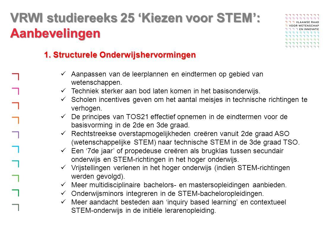 VRWI studiereeks 25 'Kiezen voor STEM': Aanbevelingen 1.