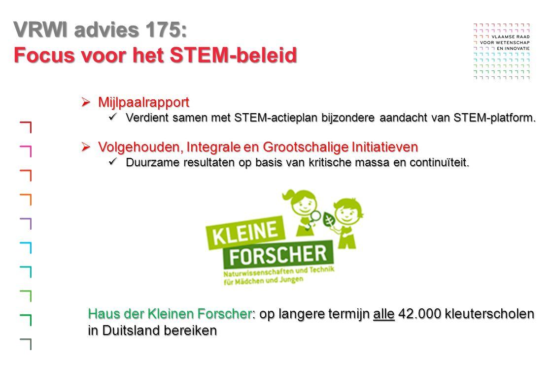  Mijlpaalrapport Verdient samen met STEM-actieplan bijzondere aandacht van STEM-platform.