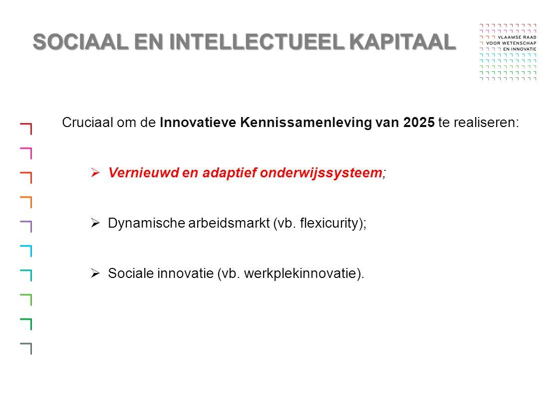 Cruciaal om de Innovatieve Kennissamenleving van 2025 te realiseren:  Vernieuwd en adaptief onderwijssysteem;  Dynamische arbeidsmarkt (vb.