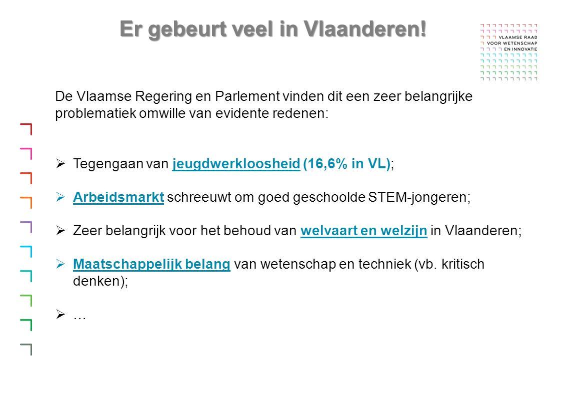 De Vlaamse Regering en Parlement vinden dit een zeer belangrijke problematiek omwille van evidente redenen:  Tegengaan van jeugdwerkloosheid (16,6% in VL);  Arbeidsmarkt schreeuwt om goed geschoolde STEM-jongeren;  Zeer belangrijk voor het behoud van welvaart en welzijn in Vlaanderen;  Maatschappelijk belang van wetenschap en techniek (vb.