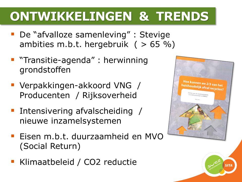 """ONTWIKKELINGEN & TRENDS  De """"afvalloze samenleving"""" : Stevige ambities m.b.t. hergebruik ( > 65 %)  """"Transitie-agenda"""" : herwinning grondstoffen  V"""