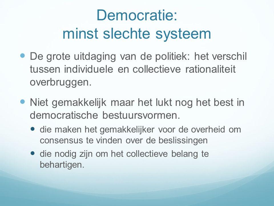 Democratie: minst slechte systeem De grote uitdaging van de politiek: het verschil tussen individuele en collectieve rationaliteit overbruggen.