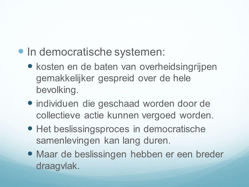 In democratische systemen: kosten en de baten van overheidsingrijpen gemakkelijker gespreid over de hele bevolking.