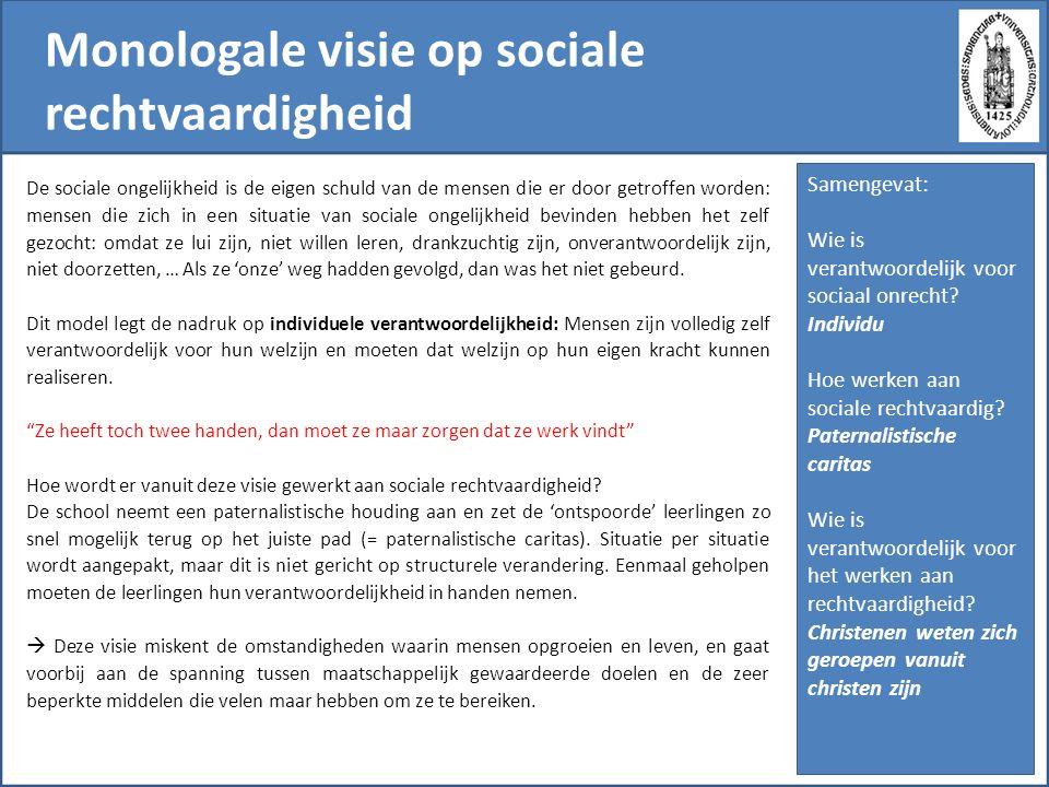 Monologale visie op sociale rechtvaardigheid De sociale ongelijkheid is de eigen schuld van de mensen die er door getroffen worden: mensen die zich in