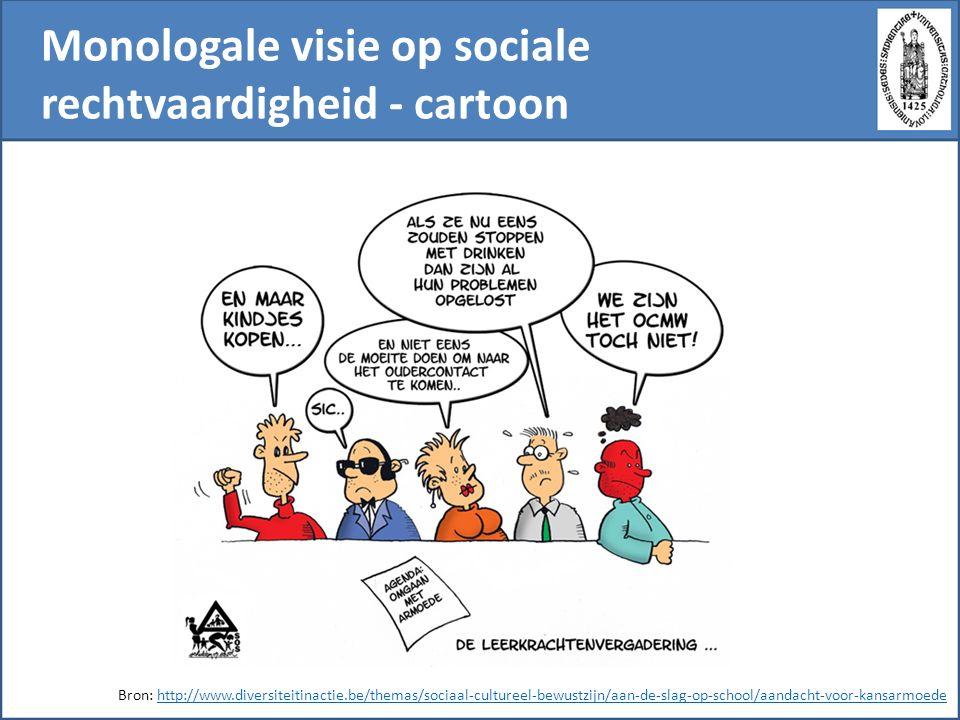 Monologale visie op sociale rechtvaardigheid - cartoon Bron: http://www.diversiteitinactie.be/themas/sociaal-cultureel-bewustzijn/aan-de-slag-op-school/aandacht-voor-kansarmoedehttp://www.diversiteitinactie.be/themas/sociaal-cultureel-bewustzijn/aan-de-slag-op-school/aandacht-voor-kansarmoede
