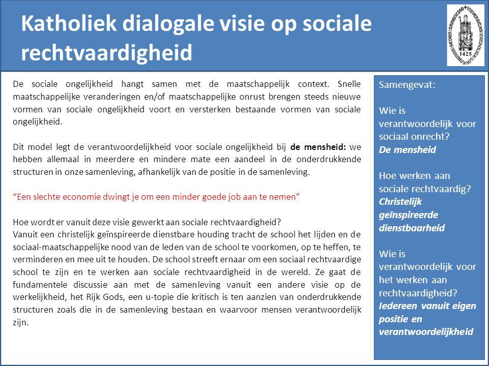 Katholiek dialogale visie op sociale rechtvaardigheid De sociale ongelijkheid hangt samen met de maatschappelijk context. Snelle maatschappelijke vera