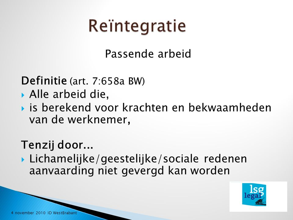 Passende arbeid Definitie (art.