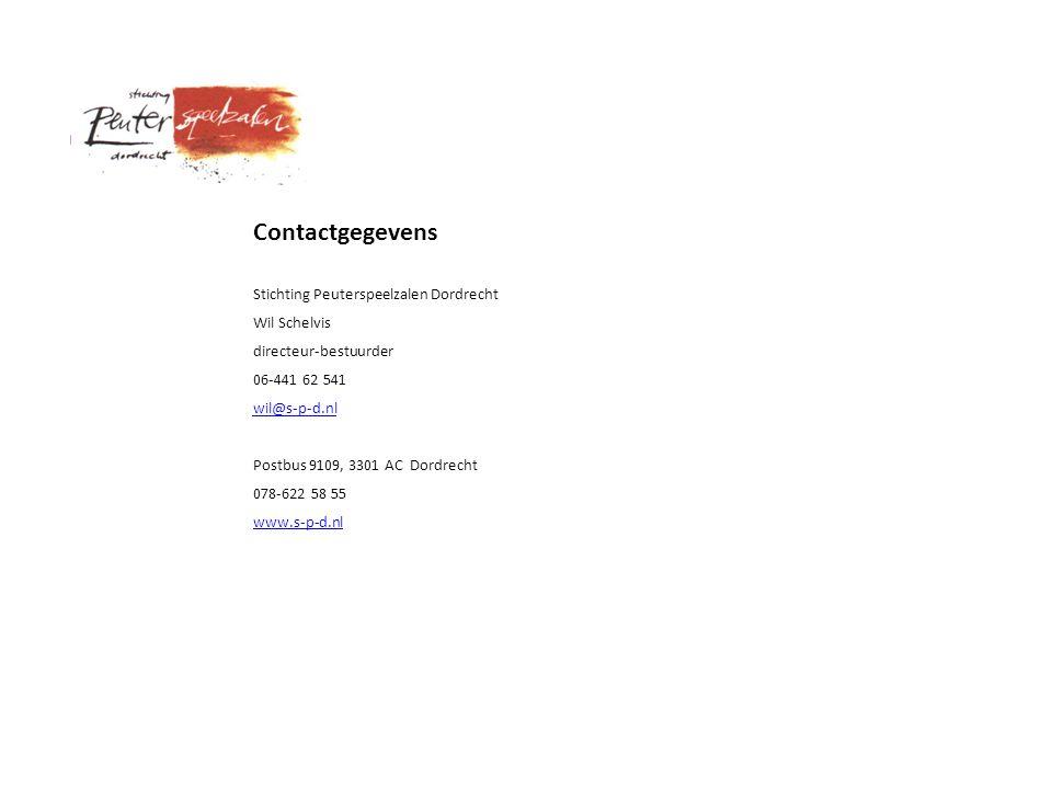 Contactgegevens Stichting Peuterspeelzalen Dordrecht Wil Schelvis directeur-bestuurder 06-441 62 541 wil@s-p-d.nl Postbus 9109, 3301 AC Dordrecht 078-622 58 55 www.s-p-d.nl