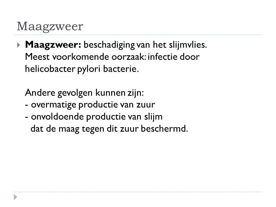 Maagzweer  Maagzweer: beschadiging van het slijmvlies. Meest voorkomende oorzaak: infectie door helicobacter pylori bacterie. Andere gevolgen kunnen