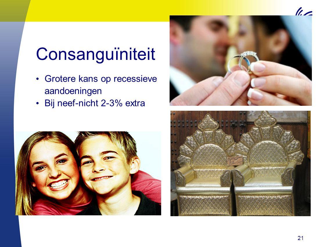 21 Consanguïniteit Grotere kans op recessieve aandoeningen Bij neef-nicht 2-3% extra