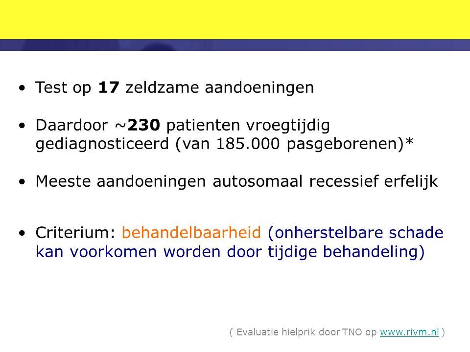 Test op 17 zeldzame aandoeningen Daardoor ~230 patienten vroegtijdig gediagnosticeerd (van 185.000 pasgeborenen)* Meeste aandoeningen autosomaal recessief erfelijk Criterium: behandelbaarheid (onherstelbare schade kan voorkomen worden door tijdige behandeling) ( Evaluatie hielprik door TNO op www.rivm.nl )www.rivm.nl