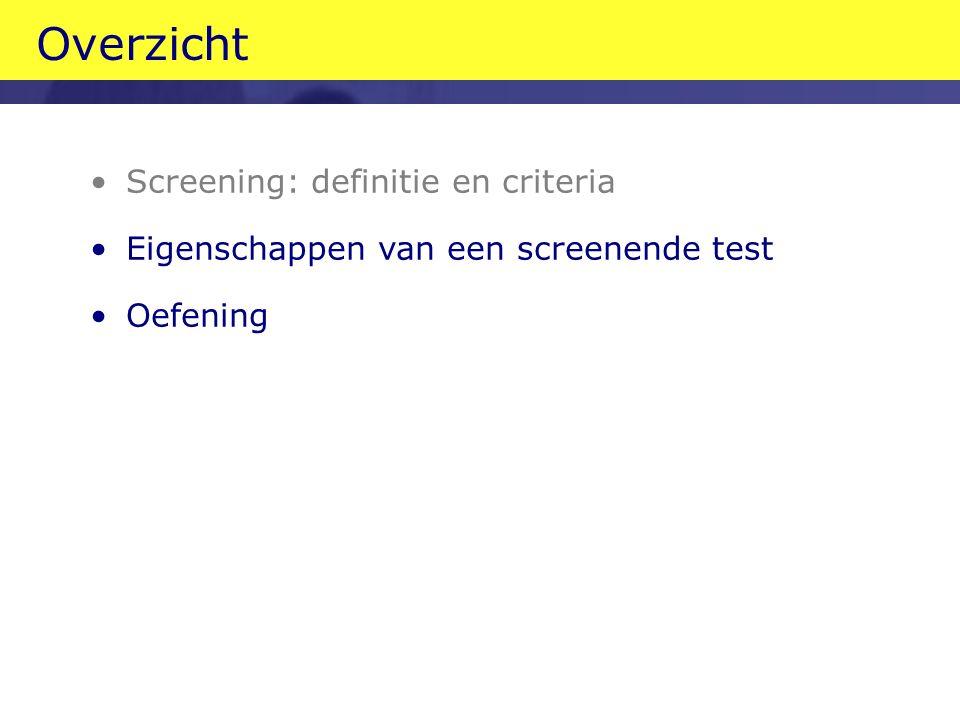 Overzicht Screening: definitie en criteria Eigenschappen van een screenende test Oefening