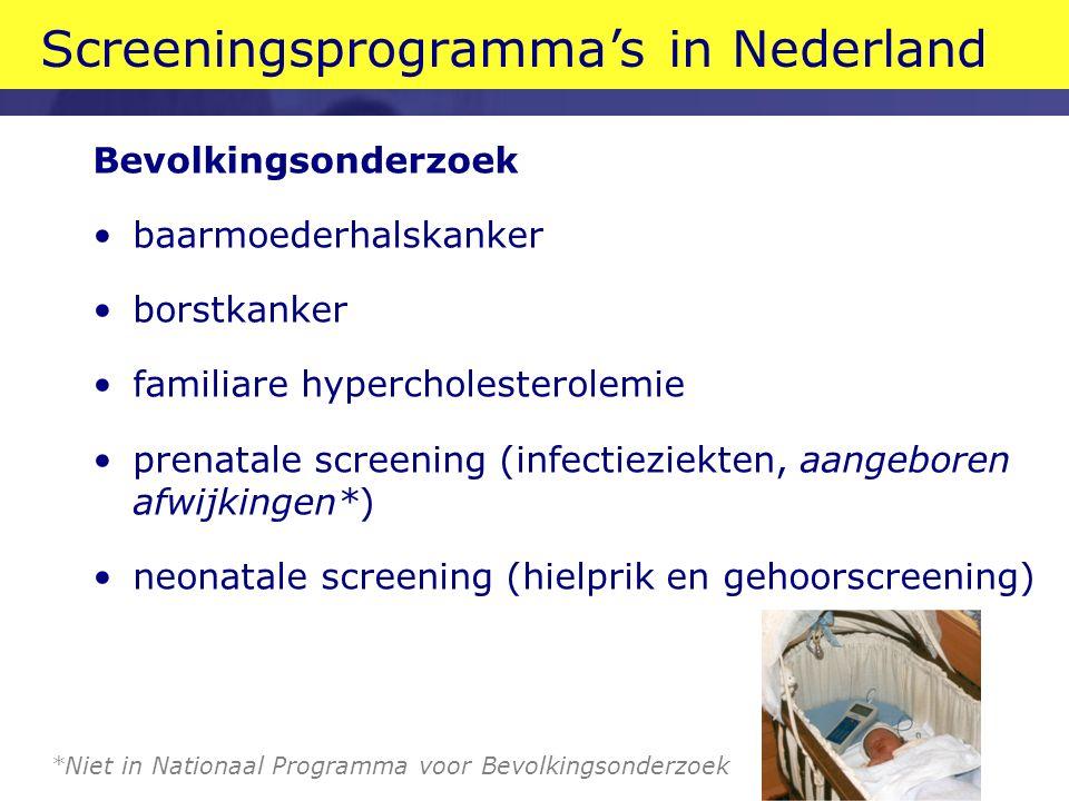 Screeningsprogramma's in Nederland Bevolkingsonderzoek baarmoederhalskanker borstkanker familiare hypercholesterolemie prenatale screening (infectieziekten, aangeboren afwijkingen*) neonatale screening (hielprik en gehoorscreening) *Niet in Nationaal Programma voor Bevolkingsonderzoek