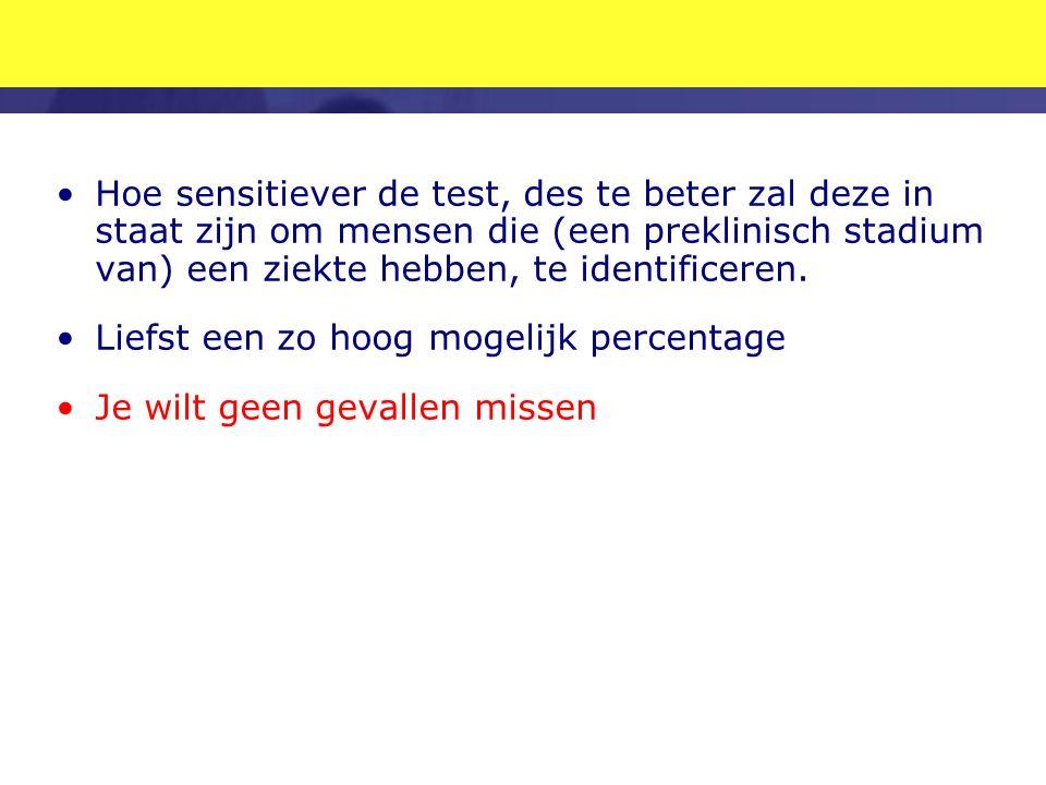 Hoe sensitiever de test, des te beter zal deze in staat zijn om mensen die (een preklinisch stadium van) een ziekte hebben, te identificeren.