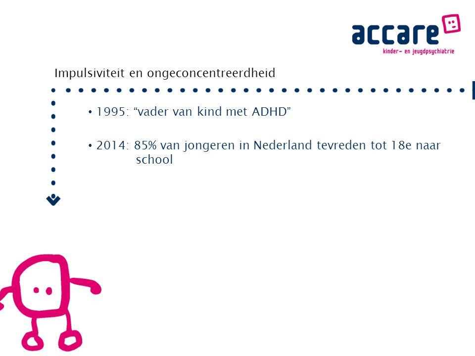 Impulsiviteit en ongeconcentreerdheid 1995: vader van kind met ADHD 2014: 85% van jongeren in Nederland tevreden tot 18e naar school