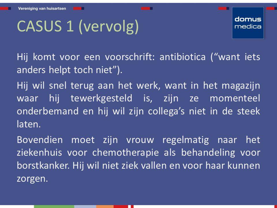CASUS 1 (vervolg) Hij komt voor een voorschrift: antibiotica ( want iets anders helpt toch niet ).
