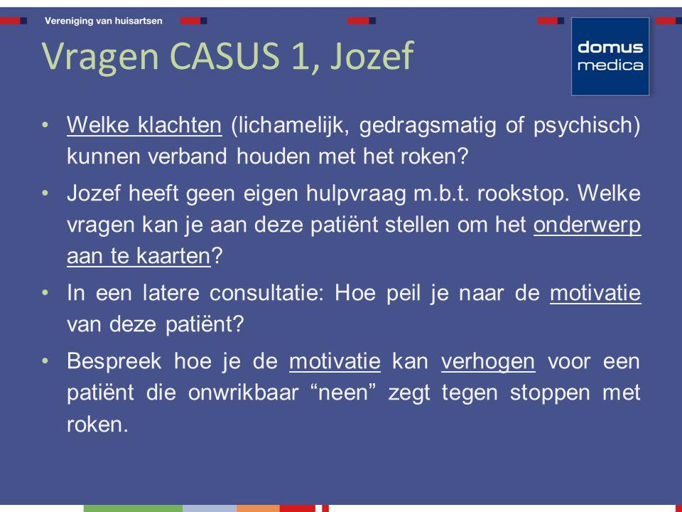 Vragen CASUS 1, Jozef Welke klachten (lichamelijk, gedragsmatig of psychisch) kunnen verband houden met het roken? Jozef heeft geen eigen hulpvraag m.