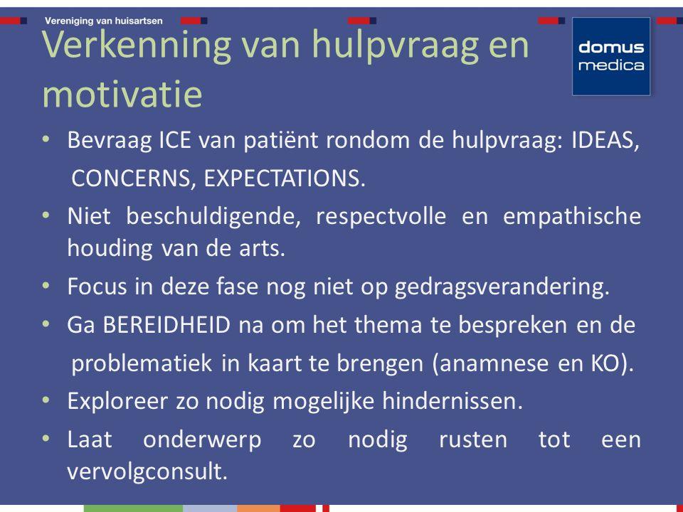 Verkenning van hulpvraag en motivatie Bevraag ICE van patiënt rondom de hulpvraag: IDEAS, CONCERNS, EXPECTATIONS. Niet beschuldigende, respectvolle en