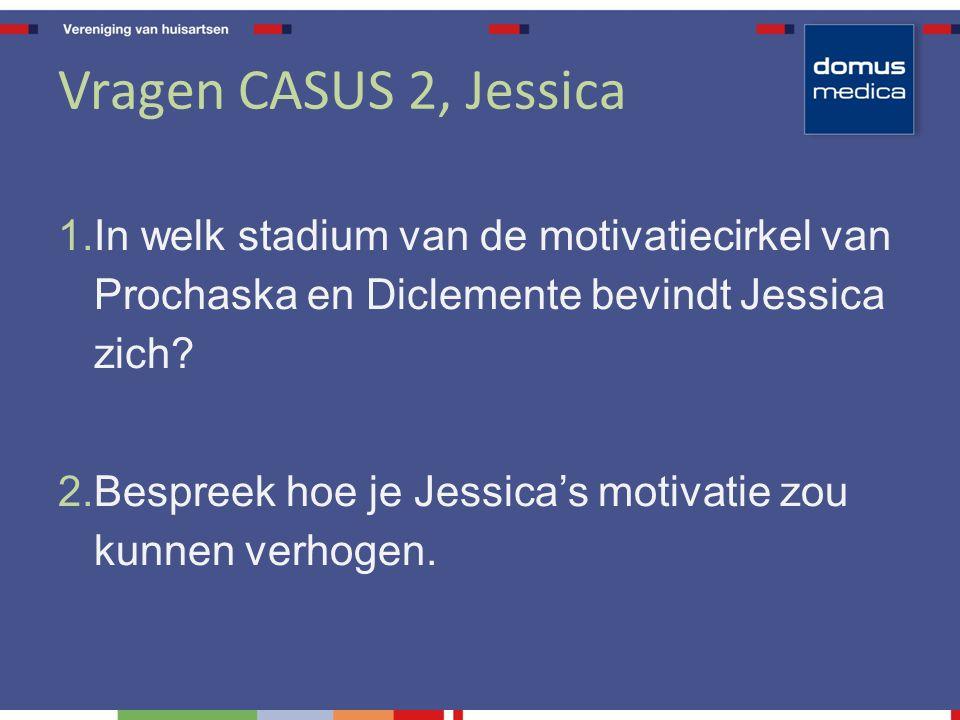 Vragen CASUS 2, Jessica 1. In welk stadium van de motivatiecirkel van Prochaska en Diclemente bevindt Jessica zich? 2. Bespreek hoe je Jessica's motiv