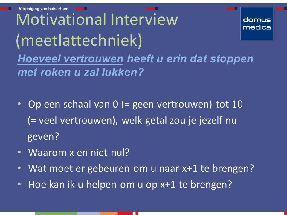 Motivational Interview (meetlattechniek) Hoeveel vertrouwen heeft u erin dat stoppen met roken u zal lukken? Op een schaal van 0 (= geen vertrouwen) t