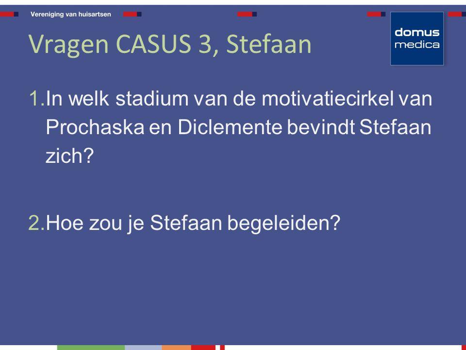 Vragen CASUS 3, Stefaan 1. In welk stadium van de motivatiecirkel van Prochaska en Diclemente bevindt Stefaan zich? 2. Hoe zou je Stefaan begeleiden?