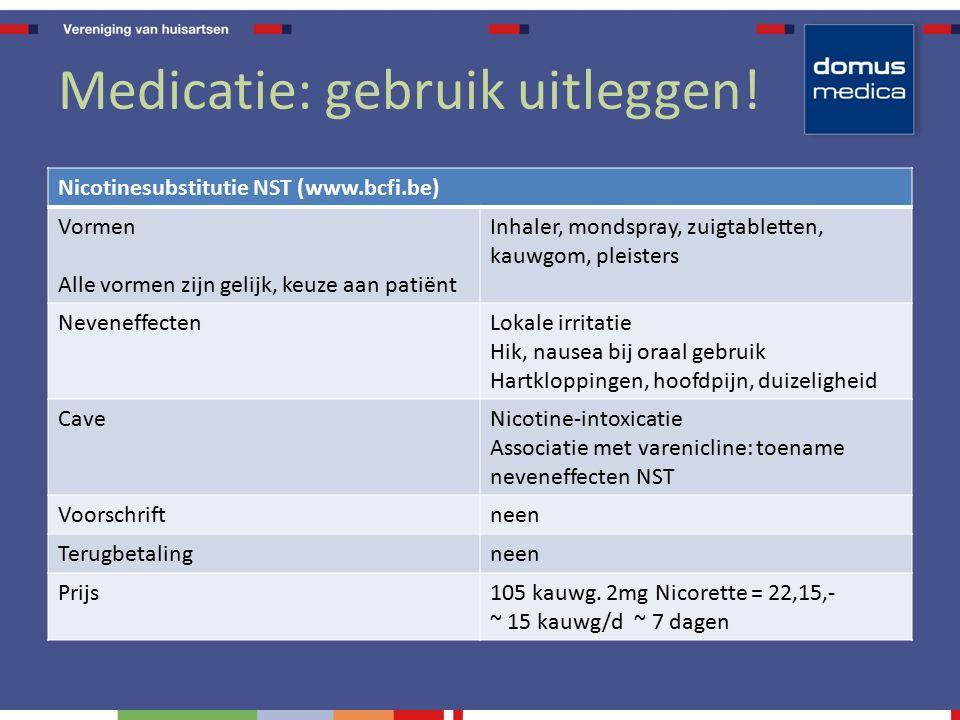 Medicatie: gebruik uitleggen! Nicotinesubstitutie NST (www.bcfi.be) Vormen Alle vormen zijn gelijk, keuze aan patiënt Inhaler, mondspray, zuigtablette