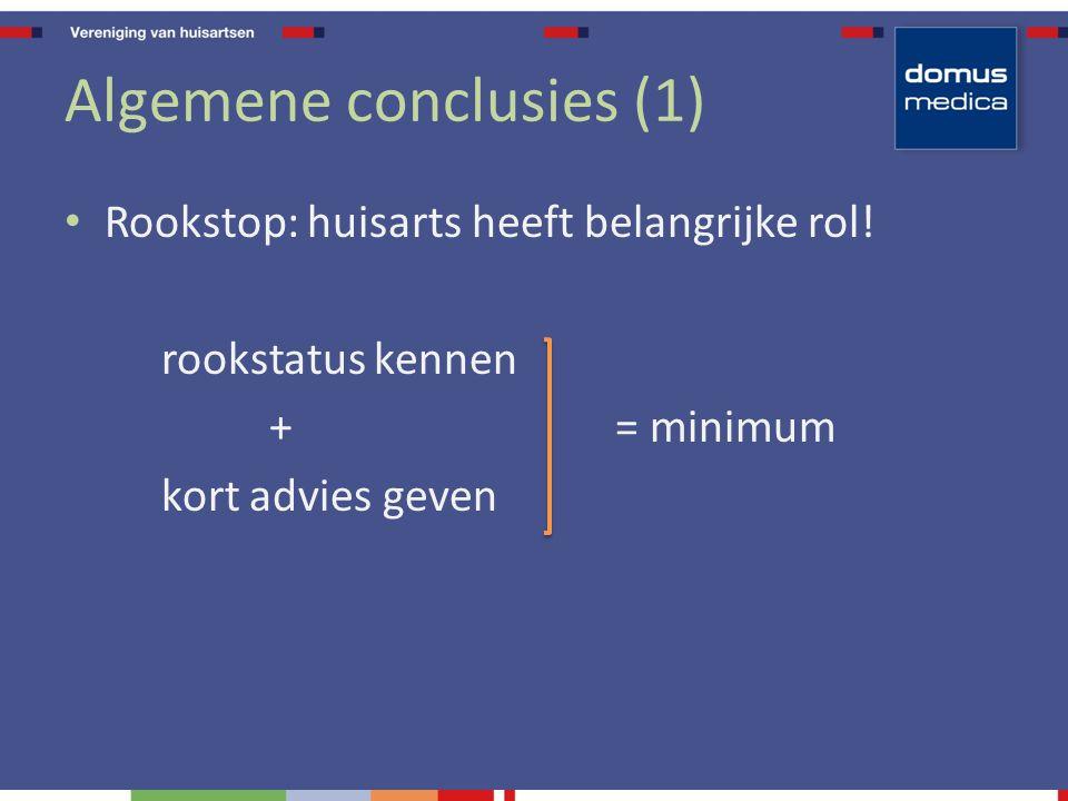 Algemene conclusies (1) Rookstop: huisarts heeft belangrijke rol! rookstatus kennen + = minimum kort advies geven