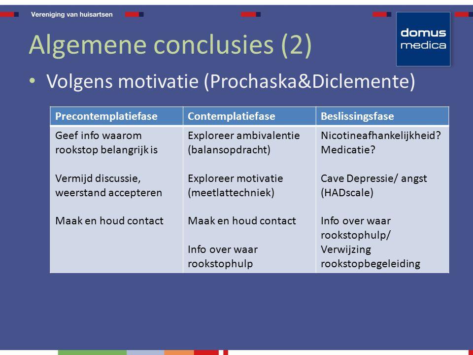 Algemene conclusies (2) Volgens motivatie (Prochaska&Diclemente) PrecontemplatiefaseContemplatiefaseBeslissingsfase Geef info waarom rookstop belangri