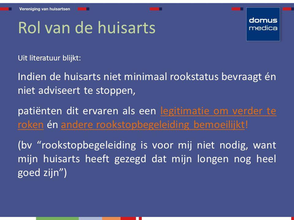 Rol van de huisarts Uit literatuur blijkt: Indien de huisarts niet minimaal rookstatus bevraagt én niet adviseert te stoppen, patiënten dit ervaren al