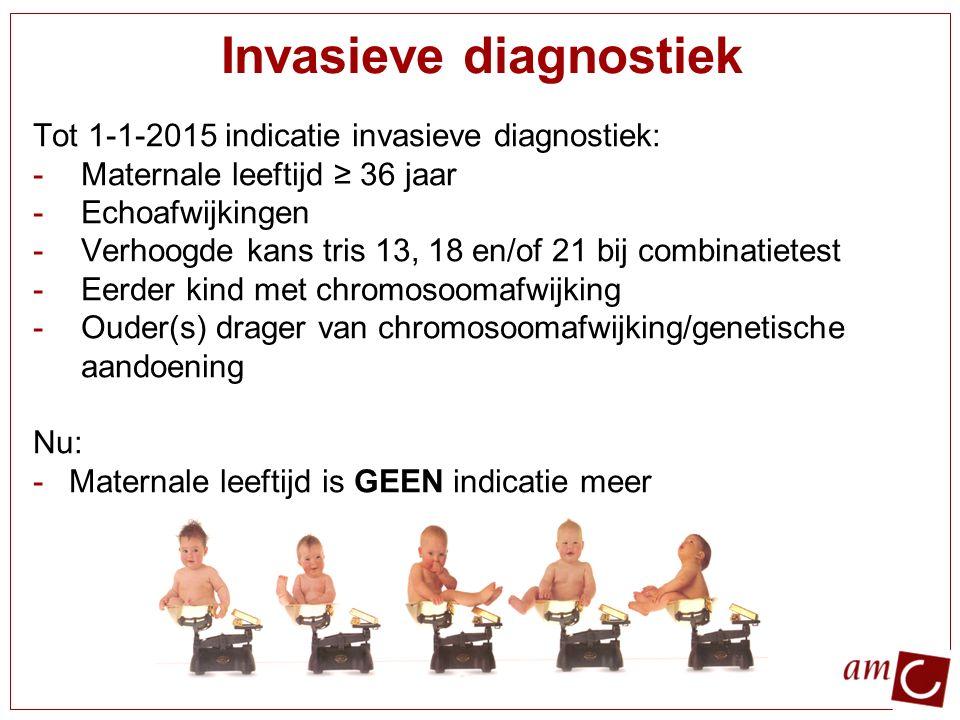 Prenatale screening 1e trimesterscreening : Nekplooimeting (NT) Serumscreening Combinatietest : NT + serum: Kosten +/- 165 euro Tripletest : serumscreening (AFP, oestriol, hCG) Structureel echoscopisch onderzoek (SEO) Per 1 april 2014: Noninvasieve prenatale test (NIPT)