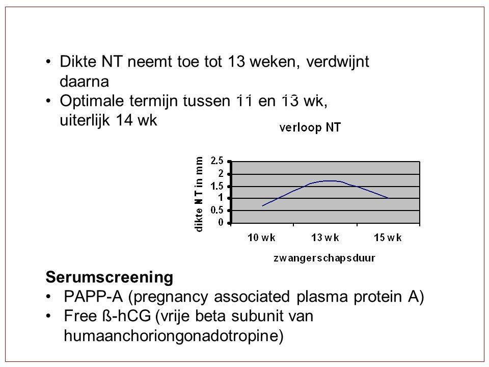Dikte NT neemt toe tot 13 weken, verdwijnt daarna Optimale termijn tussen 11 en 13 wk, uiterlijk 14 wk Serumscreening PAPP-A (pregnancy associated pla