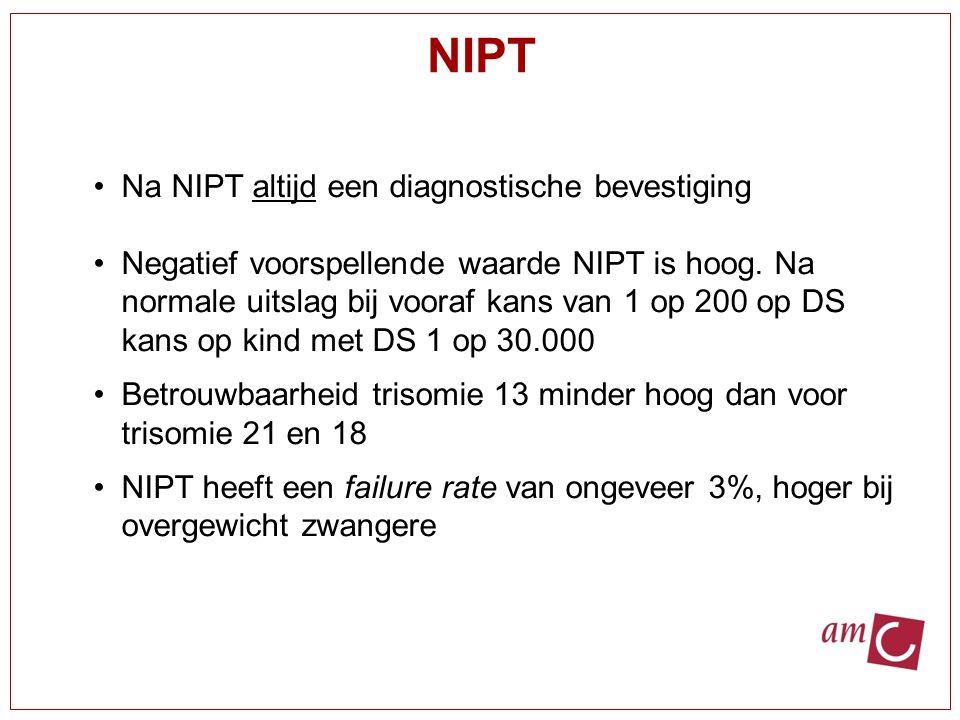 Na NIPT altijd een diagnostische bevestiging Negatief voorspellende waarde NIPT is hoog. Na normale uitslag bij vooraf kans van 1 op 200 op DS kans op