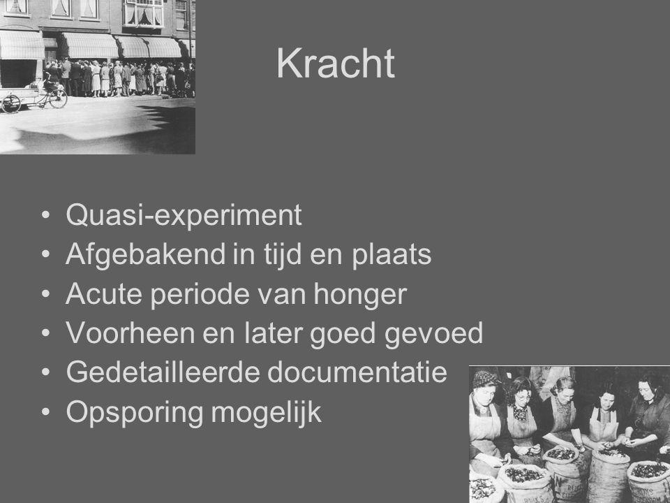 Kracht Quasi-experiment Afgebakend in tijd en plaats Acute periode van honger Voorheen en later goed gevoed Gedetailleerde documentatie Opsporing mogelijk