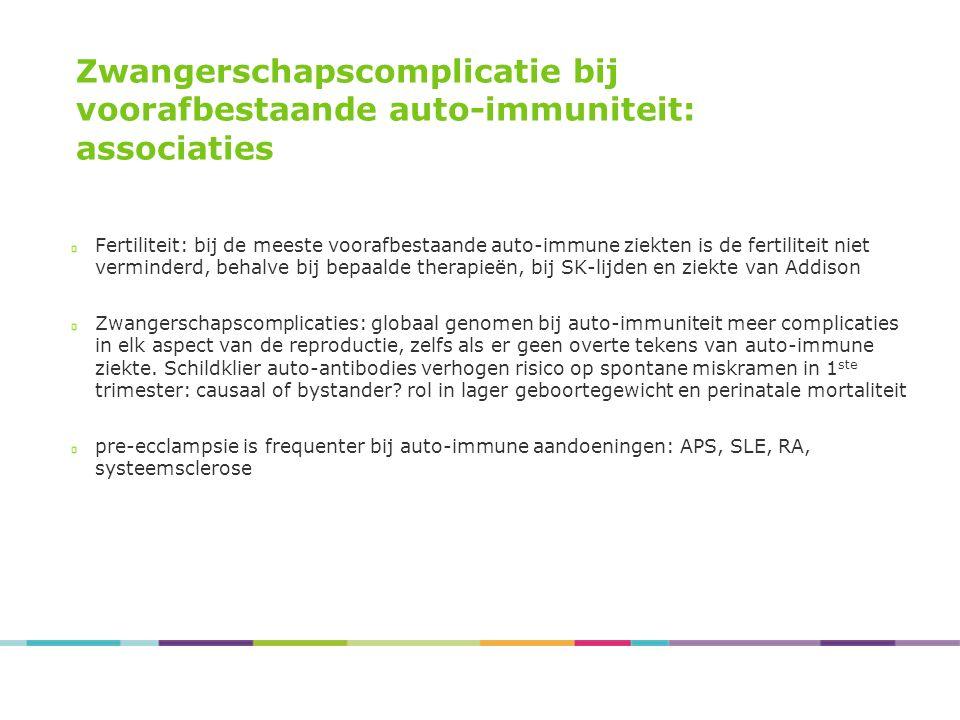 Zwangerschapscomplicatie bij voorafbestaande auto-immuniteit: associaties Fertiliteit: bij de meeste voorafbestaande auto-immune ziekten is de fertili