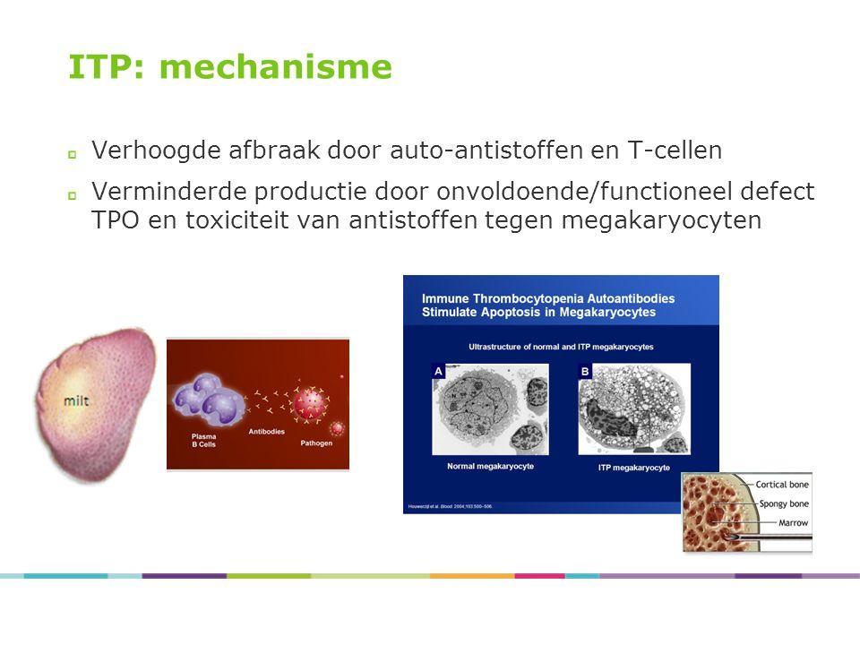 ITP: mechanisme Verhoogde afbraak door auto-antistoffen en T-cellen Verminderde productie door onvoldoende/functioneel defect TPO en toxiciteit van an