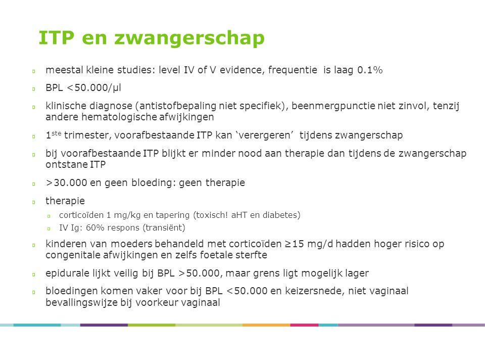 ITP en zwangerschap meestal kleine studies: level IV of V evidence, frequentie is laag 0.1% BPL <50.000/µl klinische diagnose (antistofbepaling niet s